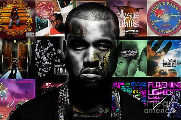 Kanye West Poster Wall Art - Mixed Media - Kanye West Collection by Marvin Blaine