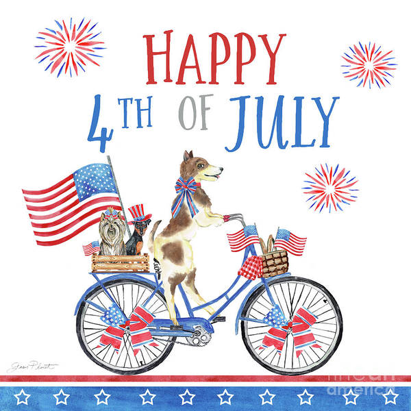 Wall Art - Painting - 4th Of July Dogs On Bike 1 by Jean Plout