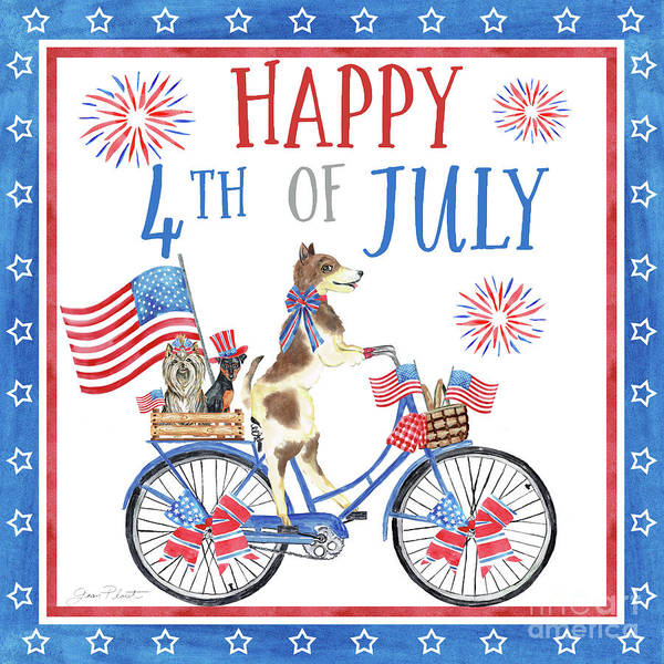 Wall Art - Painting - 4th Of July Dogs On Bike 2 by Jean Plout