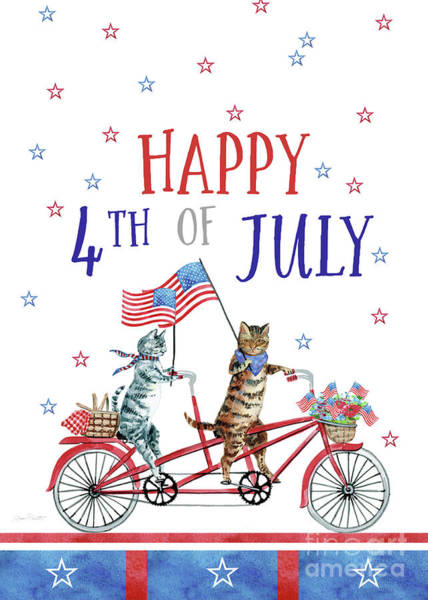 Wall Art - Painting - 4th Of July Cats On Bike 3 Card by Jean Plout