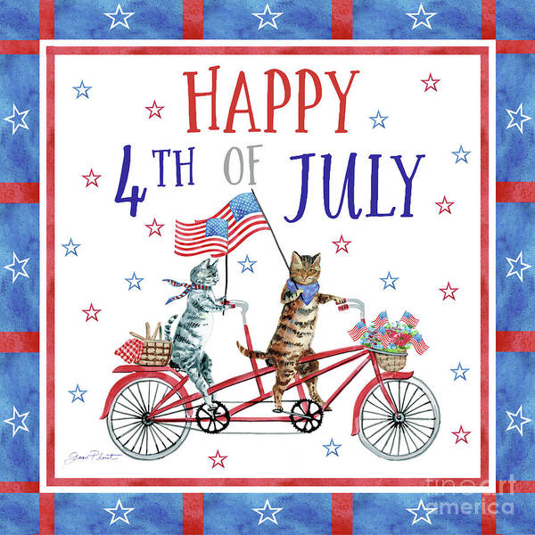 Wall Art - Painting - 4th Of July Cats On Bike by Jean Plout