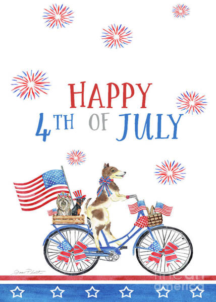 Wall Art - Painting - 4th Of July Dogs On Bike 3 Crad by Jean Plout