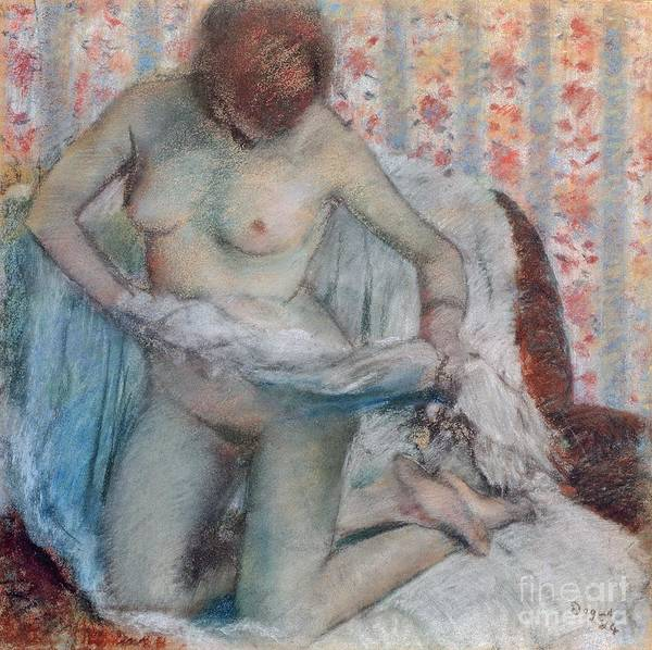 1834 Wall Art - Pastel - After The Bath by Edgar Degas