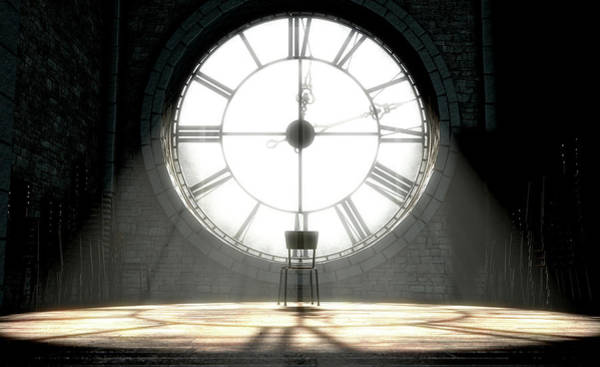 Lone Digital Art - Antique Backlit Clock And Empty Chair by Allan Swart
