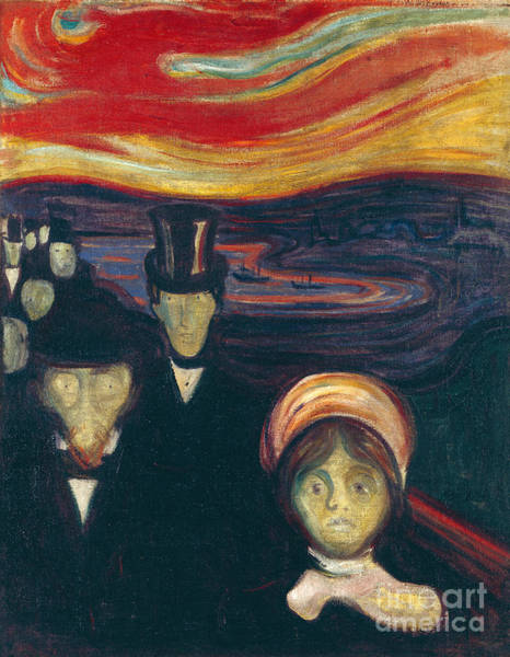 Subjective Wall Art - Painting - Anxiety 1894 By Edvard Munch by Art Anthology