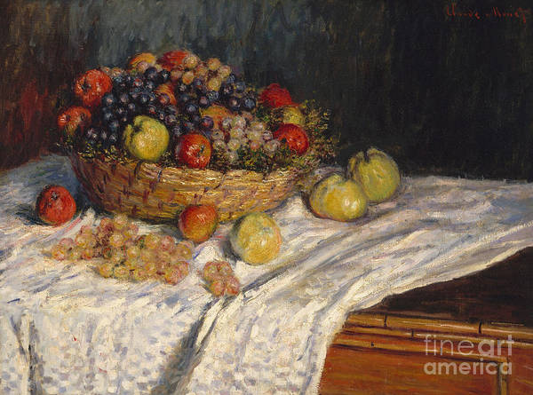 Red Apples Painting - Apples And Grapes by Claude Monet