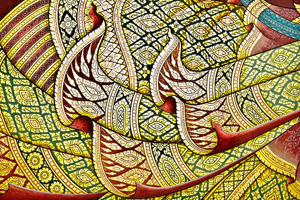 Lid Painting - Art Thai Painting On Wall In Temple. by Wetchawut Masathianwong