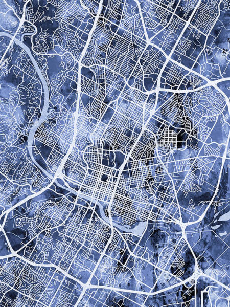 Texas Digital Art - Austin Texas City Map by Michael Tompsett