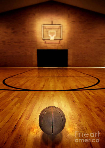 Indoor Photograph - Basketball And Basketball Court by Lane Erickson
