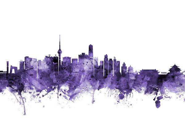 Purple Digital Art - Beijing China Skyline by Michael Tompsett