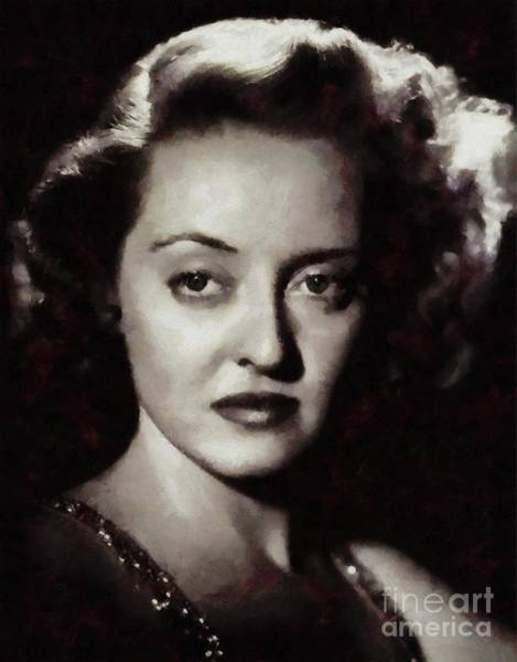 Show Business Wall Art - Painting - Bette Davis Vintage Hollywood Actress by Mary Bassett