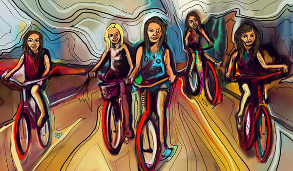 Painting - 5 Bike Girls by John Jr Gholson