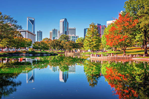 Photograph - Charlotte City Skyline From Marshall Park Autumn Season With Blu by Alex Grichenko