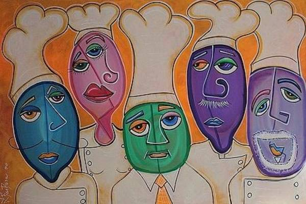 Hells Kitchen Wall Art - Painting - 5 Chefs by Laura Barbosa