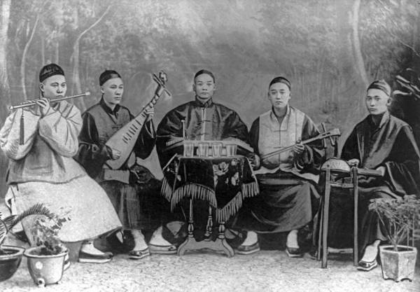 Chinese Girl Painting - 5 Chinese Musicians Playing Flute, 2-stringed Fiddle, 3-stringed Psaltery, Drums, And Small Bells by Celestial Images