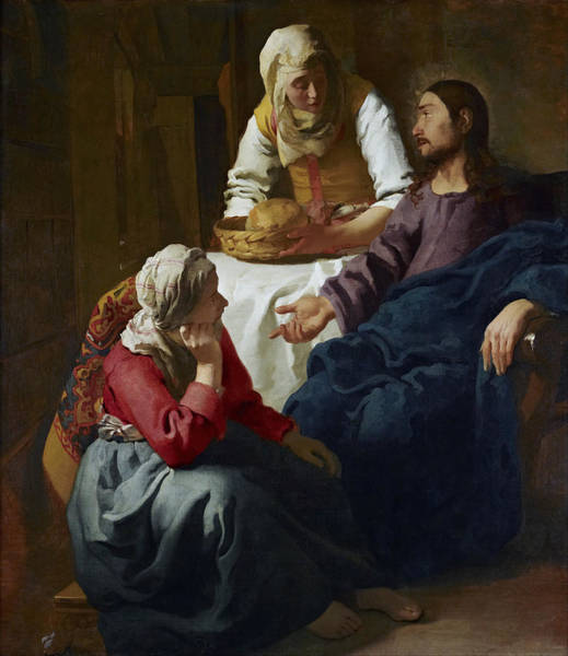 Redeemer Wall Art - Painting - Christ In The House Of Martha And Mary by Johannes Vermeer