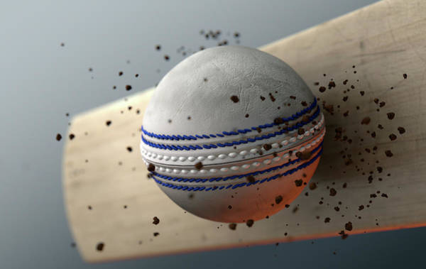Wall Art - Digital Art - Cricket Ball Striking Bat In Slow Motion by Allan Swart
