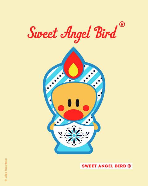 Cute Art - Blue And White Snowflake Folk Art Sweet Angel Bird In A Matryoshka Doll Costume Wall Art Print Art Print