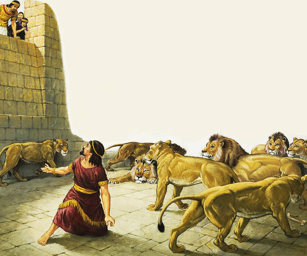 Perilous Wall Art - Painting - Daniel In The Lion's Den by English School