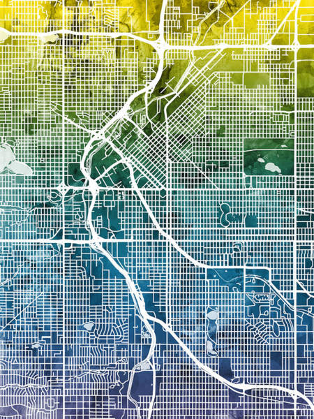 Colorado Digital Art - Denver Colorado Street Map by Michael Tompsett