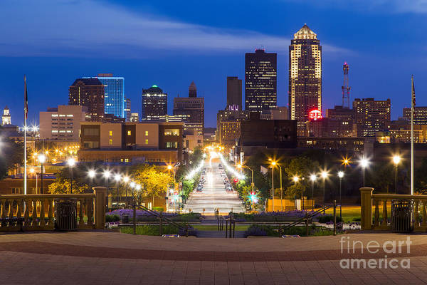 Wrap Photograph - Des Moines From The State Capitol by Twenty Two North Photography