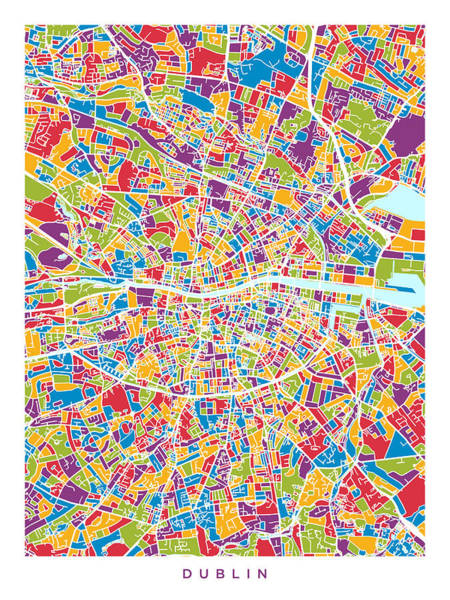 Eire Digital Art - Dublin Ireland City Map by Michael Tompsett