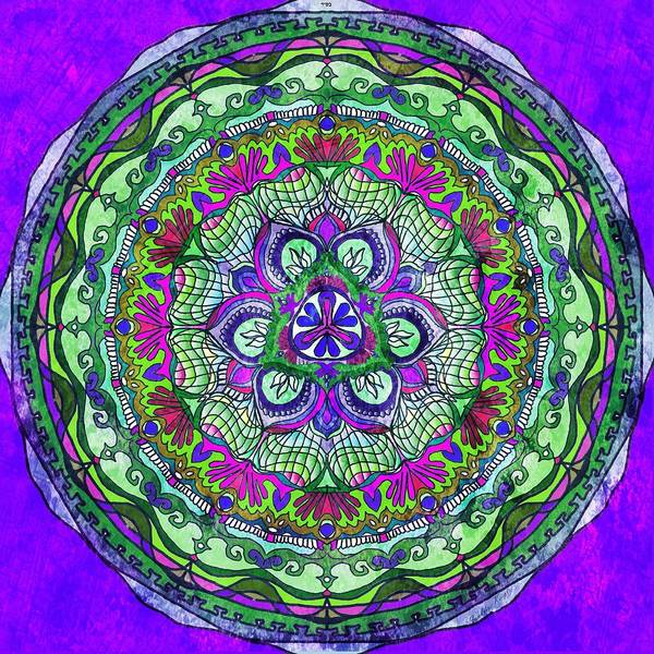 Vitrage Wall Art - Painting - Fabric Effect Mandala by Sandrine Kespi