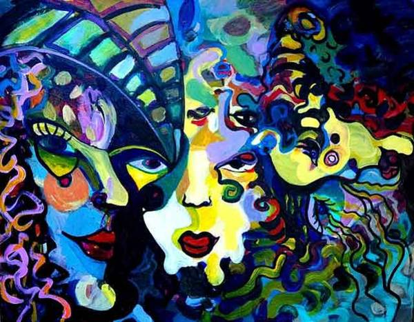 Allman Painting - 5 Faces Of Eve by Andreea Allman