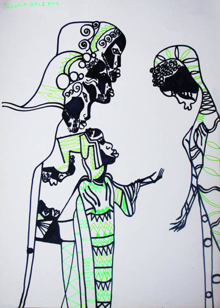 Mama Africa Drawing - Finding Of The Lord Jesus In The Temple by Gloria Ssali