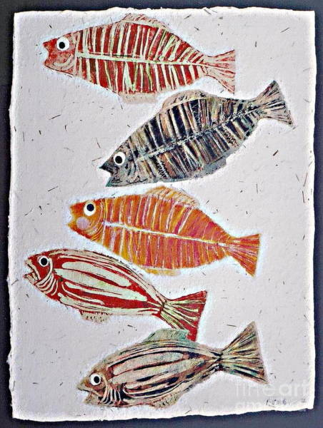 Monotype Mixed Media - 5 Fish by Pamela Iris Harden
