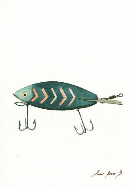 Bite Wall Art - Painting - Fishing Lure by Juan Bosco
