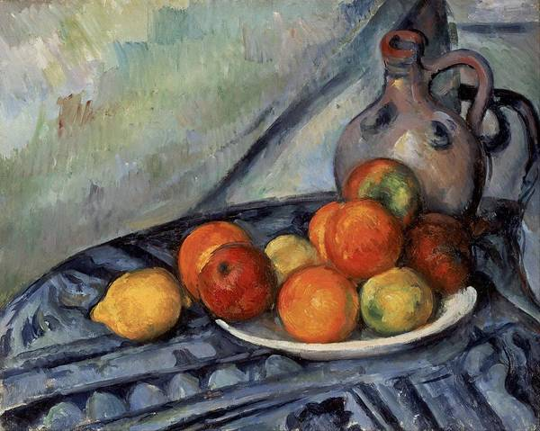 Apple Peel Wall Art - Painting - Fruit And A Jug On A Table by Paul Cezanne