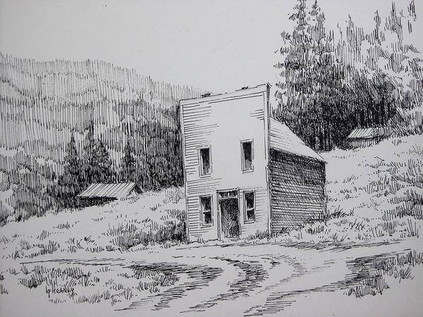 Drawing - Garnet Ghost Town Montana by Kevin Heaney