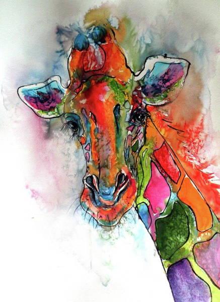 Wild Life Painting - Giraffe by Kovacs Anna Brigitta