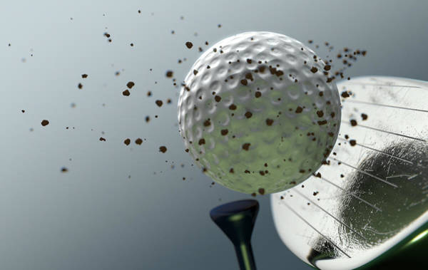 Wall Art - Digital Art - Golf Club Striking Ball In Slow Motion by Allan Swart