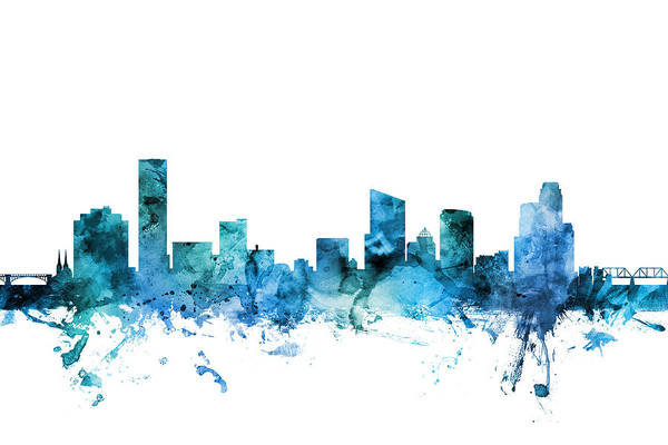 Wall Art - Digital Art - Grand Rapids Michigan Skyline by Michael Tompsett