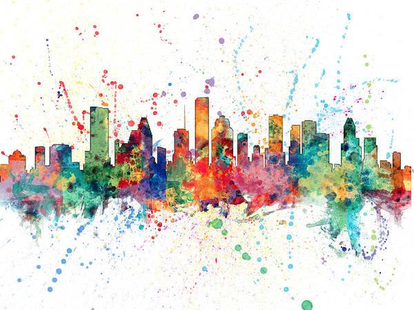 Usa Digital Art - Houston Texas Skyline by Michael Tompsett