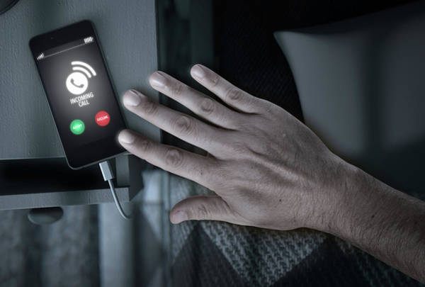 Wall Art - Digital Art - Incoming Call Cellphone Next To Bed by Allan Swart