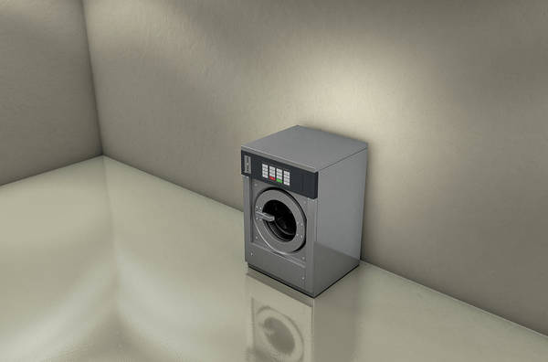 Front Digital Art - Industrial Washer In Empty Room by Allan Swart