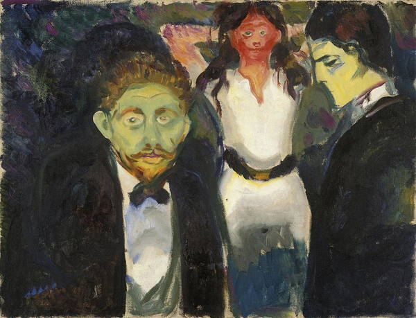 Flirtatious Painting - Jealousy by Edvard Munch