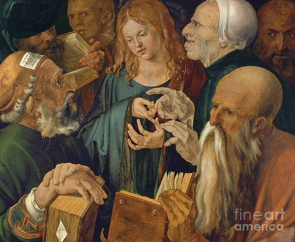 Wall Art - Painting - Jesus Among The Doctors by Albrecht Durer
