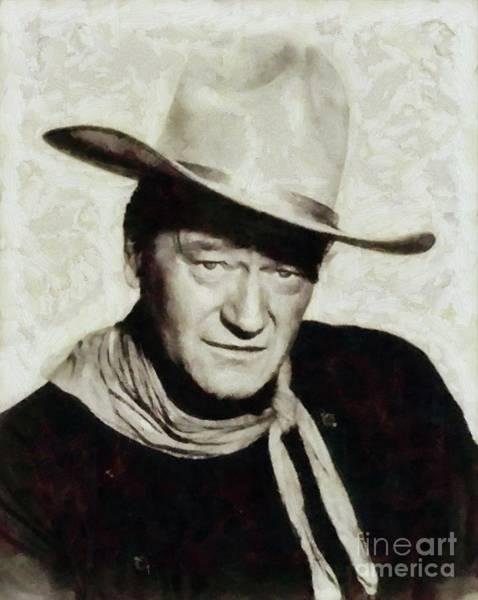 Cowboy Movie Wall Art - Painting - John Wayne Hollywood Actor by Mary Bassett