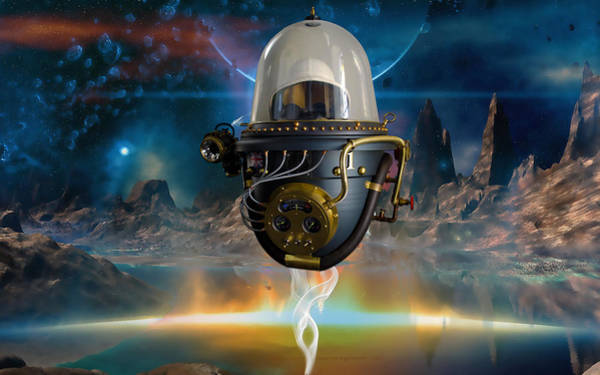 Space Ship Mixed Media - Latitude by Marvin Blaine
