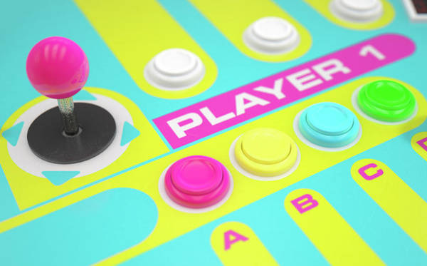 Controller Digital Art - Luminous Arcade Control Panel  by Allan Swart