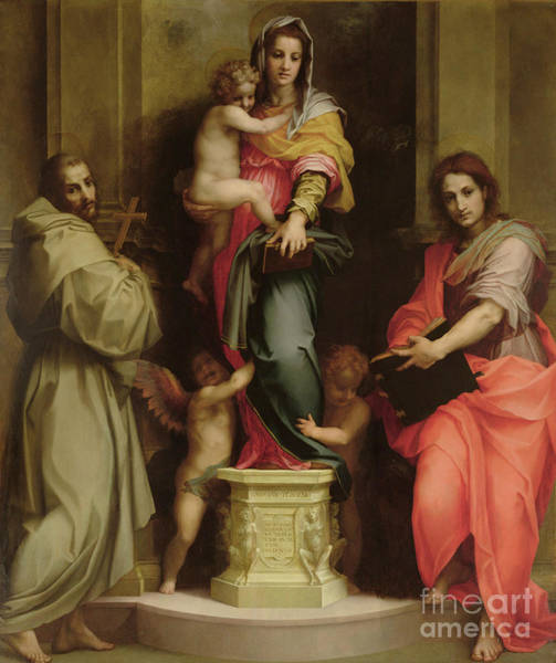 Wall Art - Painting - Madonna Of The Harpies by Andrea del Sarto