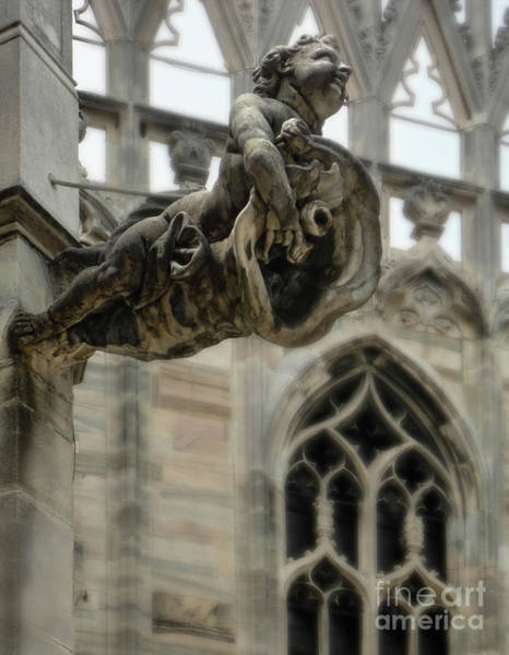Photograph - Milan Italy Cathedral Gargoyle by Gregory Dyer