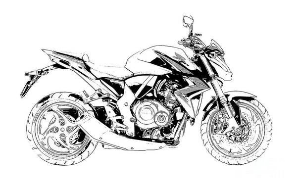 Plane Drawing - Motorcycle Art, Black And White by Drawspots Illustrations