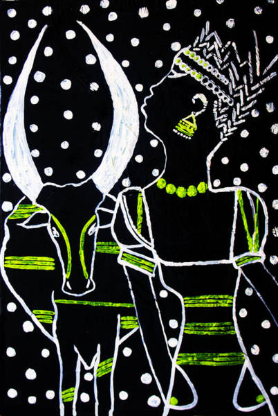 Painting - Murle Bride - South Sudan by Gloria Ssali