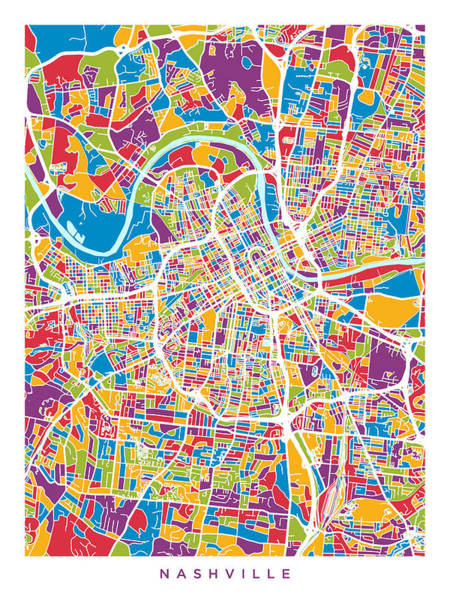 Nashville Wall Art - Digital Art - Nashville Tennessee City Map by Michael Tompsett