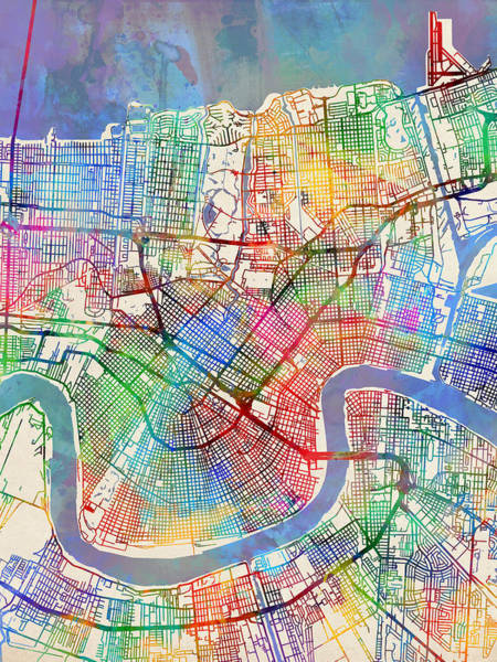 Louisiana Wall Art - Digital Art - New Orleans Street Map by Michael Tompsett